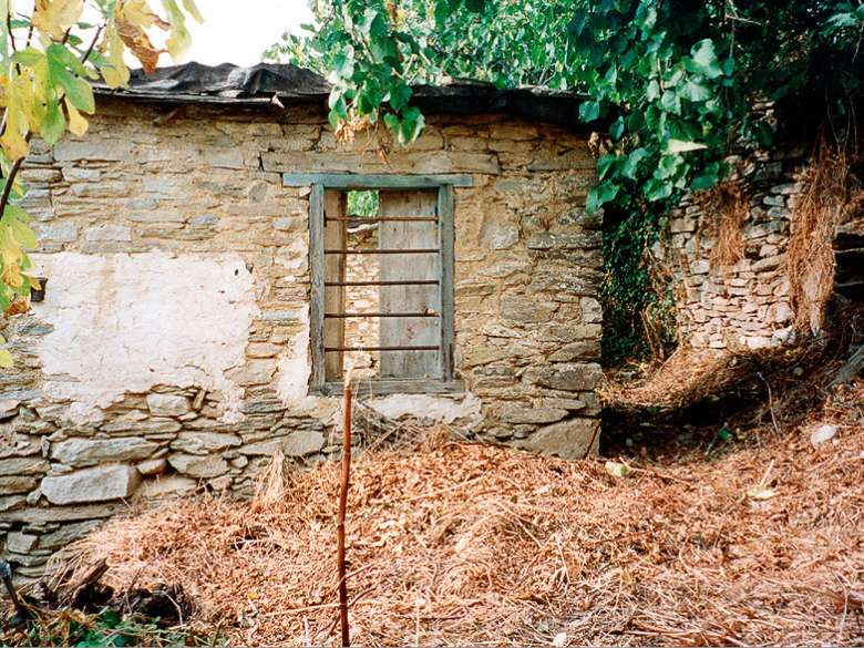 Remaining wall of the old house with window
